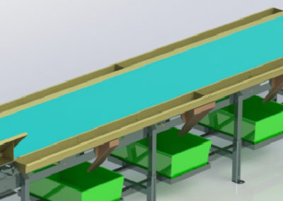 PVC Belt Sorting Conveyor with reject chutes & crate holders