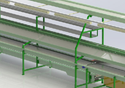 Tray packing conveyor station
